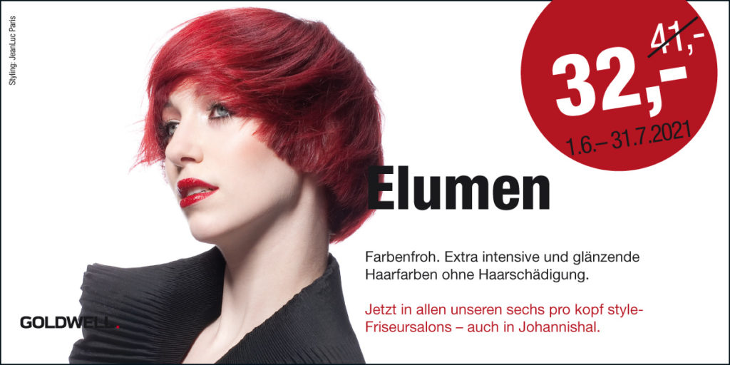 Elumen Haarfarbe von Goldwell jetzt in allen sechs pro kopf style-Friseursalons. Angebot 1.6. - 31.7.2021: 32,- €