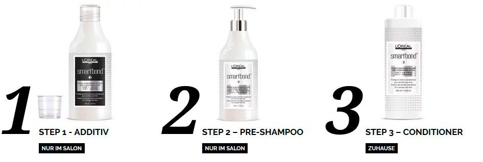 smartbond: Für Schutz und Kräftigung der Haare während jeder Coloration. Step 1: Additiv. Step 2: Pre-Shampoo. Step 3: Conditioner
